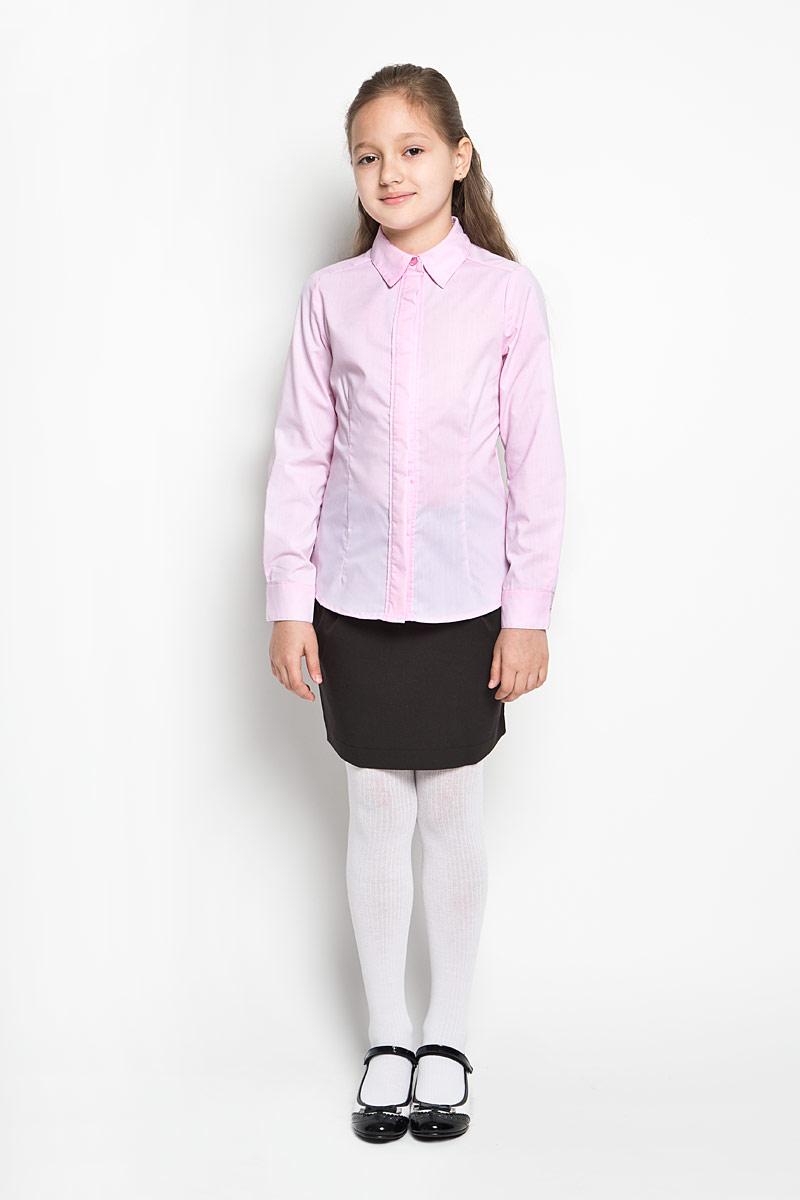 Блузка64209_OLGЭлегантная блузка для девочки Orby School идеально подойдет для школы. Изготовленная из полиэстера с добавлением хлопка, она необычайно мягкая, легкая и приятная на ощупь, не сковывает движения и позволяет коже дышать, не раздражает даже самую нежную и чувствительную кожу ребенка, обеспечивая наибольший комфорт. Блузка приталенного силуэта с отложным воротником и длинными рукавами застегивается на пуговицы скрытые под планкой. Рукава дополнены неширокими манжетами на пуговицах. Такая блузка - незаменимая вещь для школьной формы, отлично сочетается с юбками, брюками и сарафанами. Эта модель всегда выглядит великолепно!