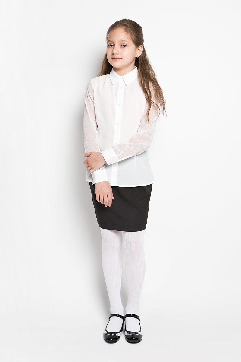 64163_OLG_вар.1Элегантная блузка для девочки Orby School идеально подойдет для школы. Изготовленная из полиэстера с добавлением вискозы, она необычайно мягкая, легкая и приятная на ощупь, не сковывает движения и позволяет коже дышать, не раздражает даже самую нежную и чувствительную кожу ребенка, обеспечивая наибольший комфорт. Блузка приталенного силуэта с отложным воротником и короткими рукавами застегивается на пуговицы по все длине. Рукава выполнены из полупрозрачной легкой ткани с фактурным принтом в горох. Такая блузка - незаменимая вещь для школьной формы, отлично сочетается с юбками, брюками и сарафанами. Эта модель всегда выглядит великолепно!