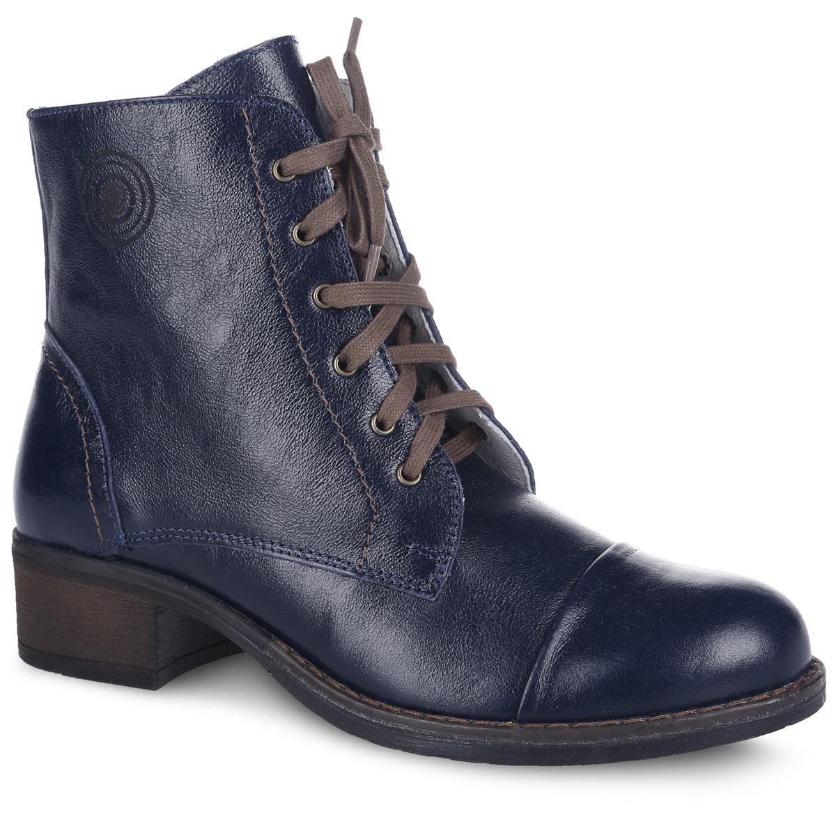 Ботинки для девочки. 752059-21752059-21Стильные высокие ботинки выполнены полностью из натуральной кожи. Кожаная подкладка абсорбирует образующуюся внутри обуви влагу и гарантирует полный комфорт. Удобная застежка – комбинация из молнии, позволяющей легко обувать и снимать ботинки и функциональной шнуровки, обеспечивающей идеальную фиксацию обуви на стопе. Подошва с небольшим каблучком гарантирует комфорт в течение дня.