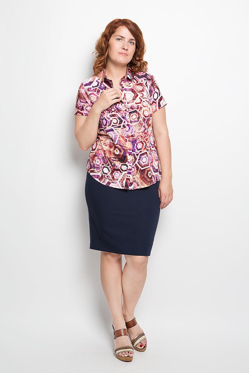Блузка050416Женская блузка Milana Style, выполненная из мягкого и легкого материала, прекрасно дополнит ваш образ. Изделие тактильно приятное, не сковывает движения и хорошо вентилируется. Блузка с отложным воротником и короткими рукавами застегивается спереди на пуговицы. Модель имеет слегка приталенный силуэт. Оформлено изделие ярким красочным принтом. Такая блузка будет дарить вам комфорт в течение всего дня и станет стильным дополнением к вашему гардеробу!