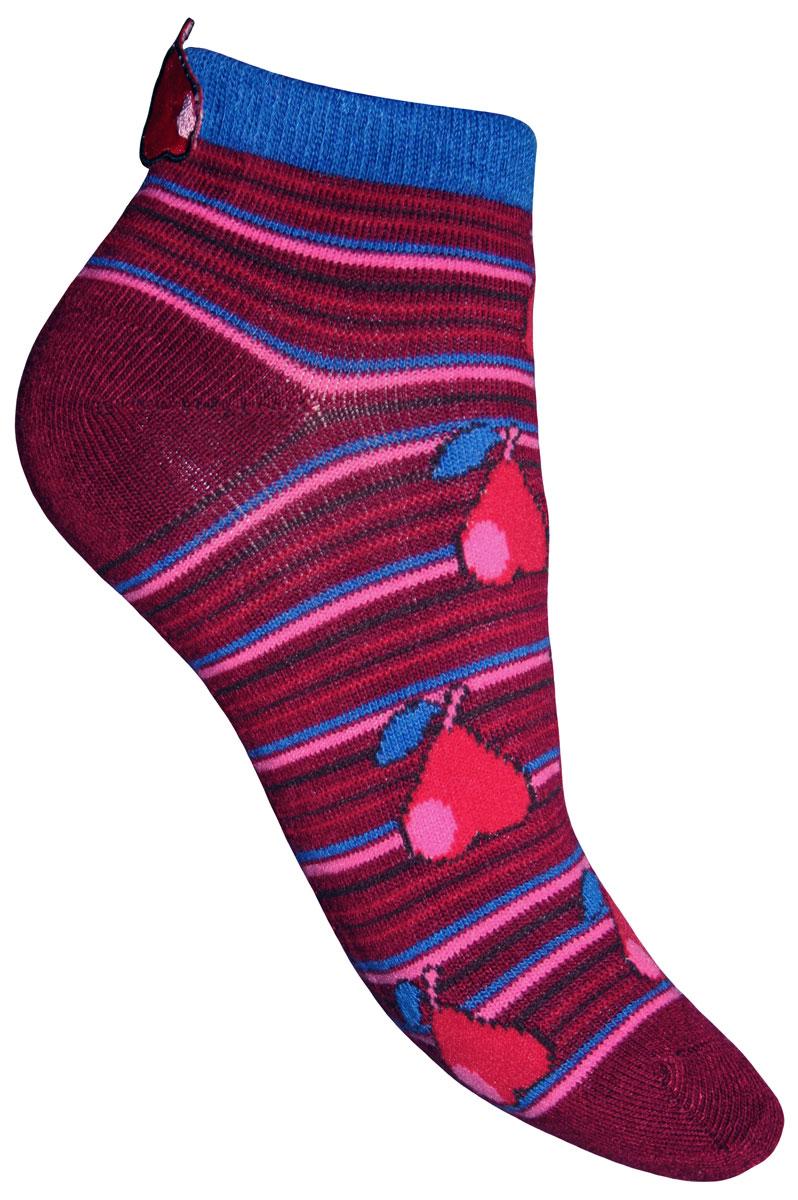 Носки для девочки Sunny Kids. 82610_груши82610Детские носки Master Socks Sunny Kids изготовлены из высококачественных материалов. Ткань очень мягкая и тактильно приятная. Содержание бамбука в составе обеспечивает высокую прочность, эластичность и воздухопроницаемость. Изделие хорошо стирается, длительное время сохраняет привлекательный внешний вид. Эластичная резинка мягко облегает ножку ребенка, обеспечивая удобство и комфорт. Укороченная модель оформлена принтом в полоску и изображением груш. Украшены носочки аппликацией в виде груши. Красивые и удобные носочки станут отличным дополнением к детскому гардеробу! Уважаемые клиенты! Размер, доступный для заказа, является длиной стопы.