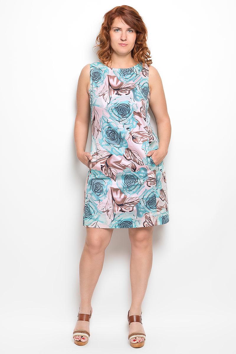 Платье020416Платье Milana Style идеально подойдет для вас и станет стильным дополнением к вашему гардеробу. Выполненное из хлопка с добавлением эластана, оно очень приятное на ощупь, не сковывает движений и хорошо вентилируется. Модель с круглым вырезом горловины, без рукавов оформлена оригинальным цветочным принтом. Спереди платье-миди дополнено небольшими втачными карманами. Такое платье поможет создать яркий и привлекательный образ, в нем вам будет удобно и комфортно.