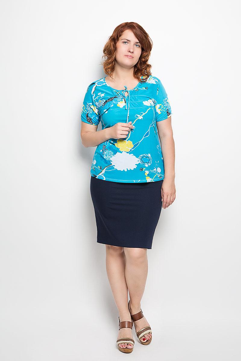 Блузка женская. 5415254152Яркая блузка Milana Style, выполненная из эластичной вискозы, подчеркнет ваш уникальный стиль. Материал очень мягкий и приятный на ощупь, не сковывает движения и хорошо вентилируется. Блузка с фигурным вырезом горловины и короткими рукавами оформлена цветочным принтом. Модель имеет приталенный силуэт. У выреза горловины и на рукавах блузка присборена на тонкие эластичные резинки. Вырез горловины дополнен завязками. Такая блузка будет дарить вам комфорт в течение всего дня и станет замечательным дополнением к вашему гардеробу!