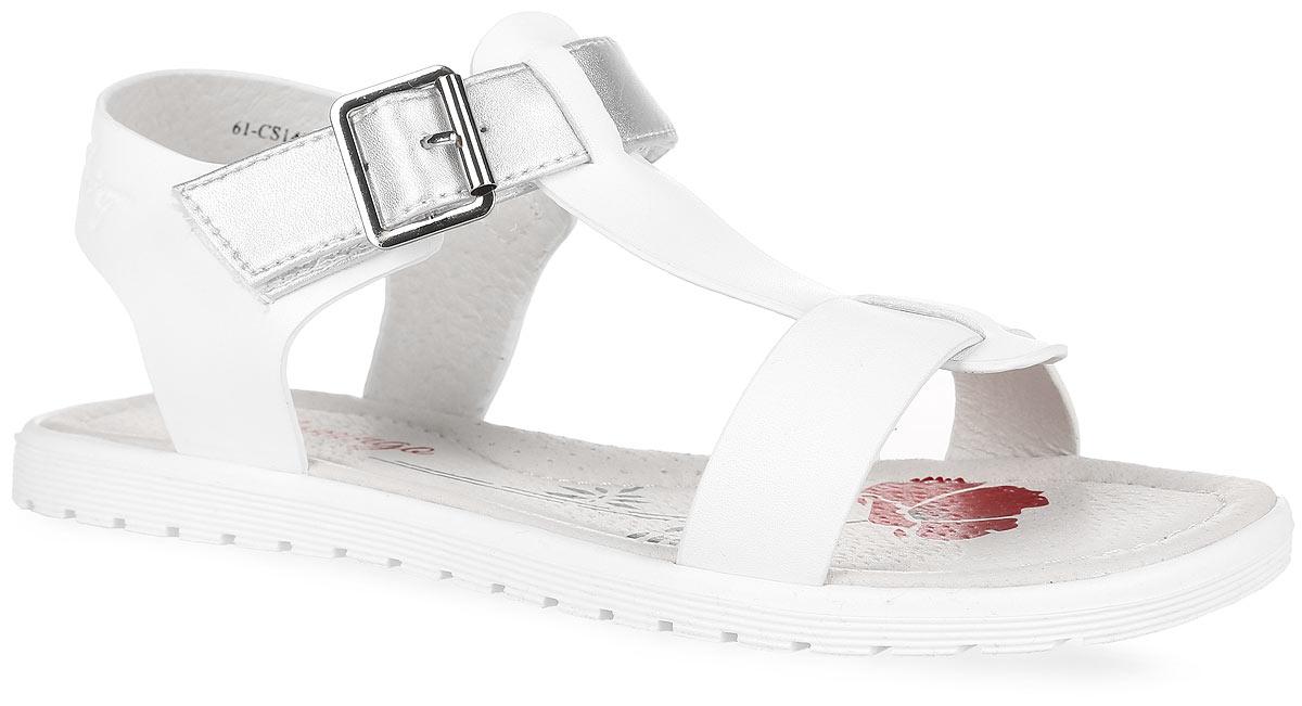 61-CS140Модные сандалии от Flamingo придутся по душе вашей девочке. Модель изготовлена из искусственной кожи. Ремешок с застежкой-липучкой, оформленный металлической декоративной пряжкой, обеспечивает надежную фиксацию модели на ноге. Внутренняя поверхность и стелька из натуральной кожи комфортны при ходьбе. Стелька оснащена супинатором, который обеспечивает правильное положение стопы ребенка при ходьбе и предотвращает плоскостопие. С боковой стороны ремешок оформлен фирменным тиснением. Подошва с рифлением обеспечивает сцепление с любой поверхностью. Стильные сандалии - незаменимая вещь в гардеробе каждой девочки!