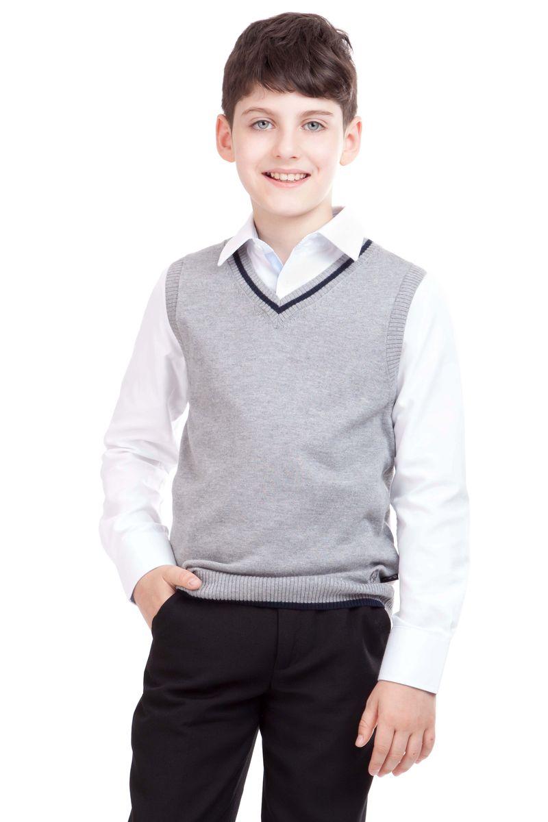 Жилет21501BSC3001Являясь важным атрибутом школьной моды, уютный школьный жилет для мальчика создает тепло и комфорт. Комбинация фактур и контрастные элементы выделяют жилет из базового ассортимента. Сложный состав пряжи делает жилет мягким и очень комфортным в носке. В отделке вышивка с монограммой GSC (Gulliver School Collection).
