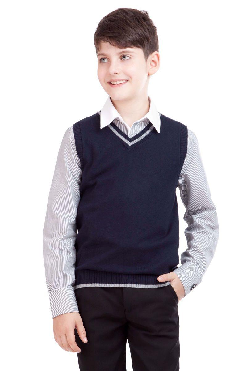 21501BSC3001Являясь важным атрибутом школьной моды, уютный школьный жилет для мальчика создает тепло и комфорт. Комбинация фактур и контрастные элементы выделяют жилет из базового ассортимента. Сложный состав пряжи делает жилет мягким и очень комфортным в носке. В отделке вышивка с монограммой GSC (Gulliver School Collection).
