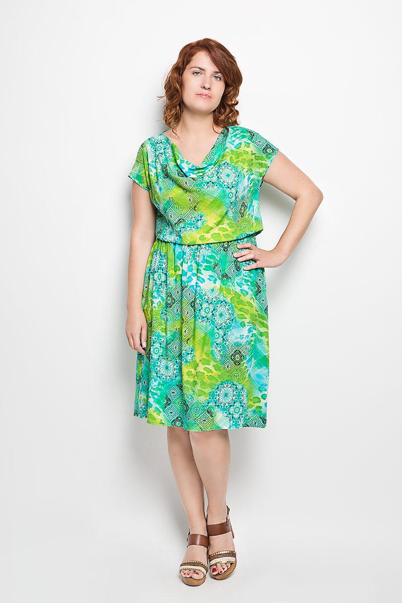 Платье100416Платье Milana Style идеально подойдет для вас и станет ярким дополнением к вашему гардеробу. Выполненное из мягкого и легкого материала, оно очень приятное на ощупь, не сковывает движений и хорошо вентилируется. Модель с короткими рукавами имеет воротник-качели. На талии платье присборено на эластичную резинку. Изделие оформлено оригинальным принтом с узорами. Такое платье поможет создать привлекательный женственный образ!