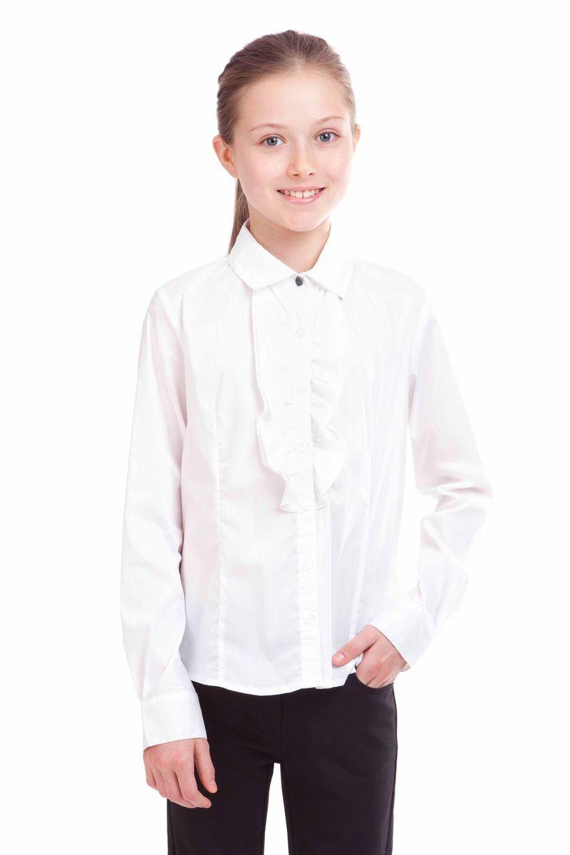 Блузка21502GSC2204Школьные блузки играют в образе ученицы не последнюю роль. Детские блузки - проявление индивидуальности, характера, вкуса, а также торжественности момента. Великолепная блузка с массивной рюшей, дополненной кружевом - нарядный и вполне интеллигентный вариант для торжественных мероприятий. В составе ткани значительное содержание хлопка. Полиэстер и эластан играют роль смягчающего волокна и гарантируют комфортную посадку блузки на фигуре.