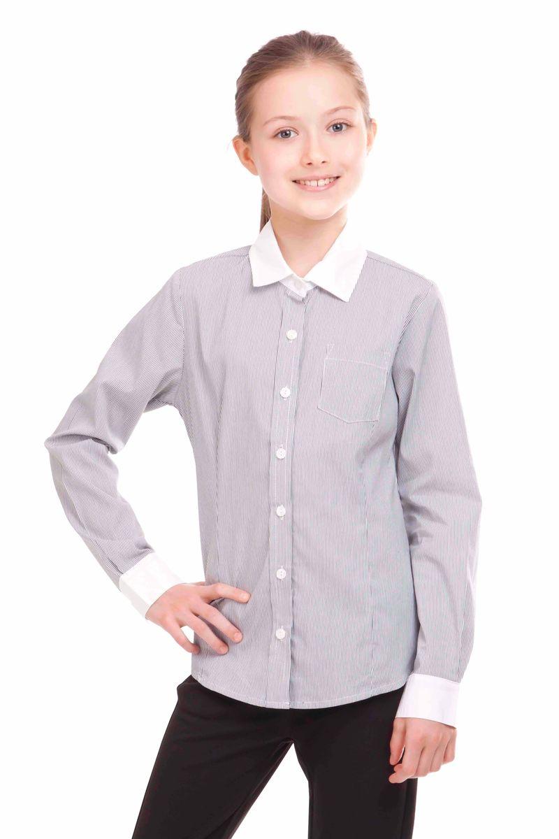 Блузка21502GSC2205Школьные блузки для девочек очень важны. Детские блузки - проявление индивидуальности, характера, вкуса. Эта модель - классическая блузка в полоску на каждый день. В составе ткани значительное содержание хлопка. Полиэстер и эластан играют роль смягчающего волокна и гарантируют комфортную посадку изделия на фигуре. Отсутствие крупных декоративных деталей на передней части позволяют ей быть прекрасным дополнением к любому сарафану. Белый воротник и манжеты делает блузку свежей, стильной, интересной.