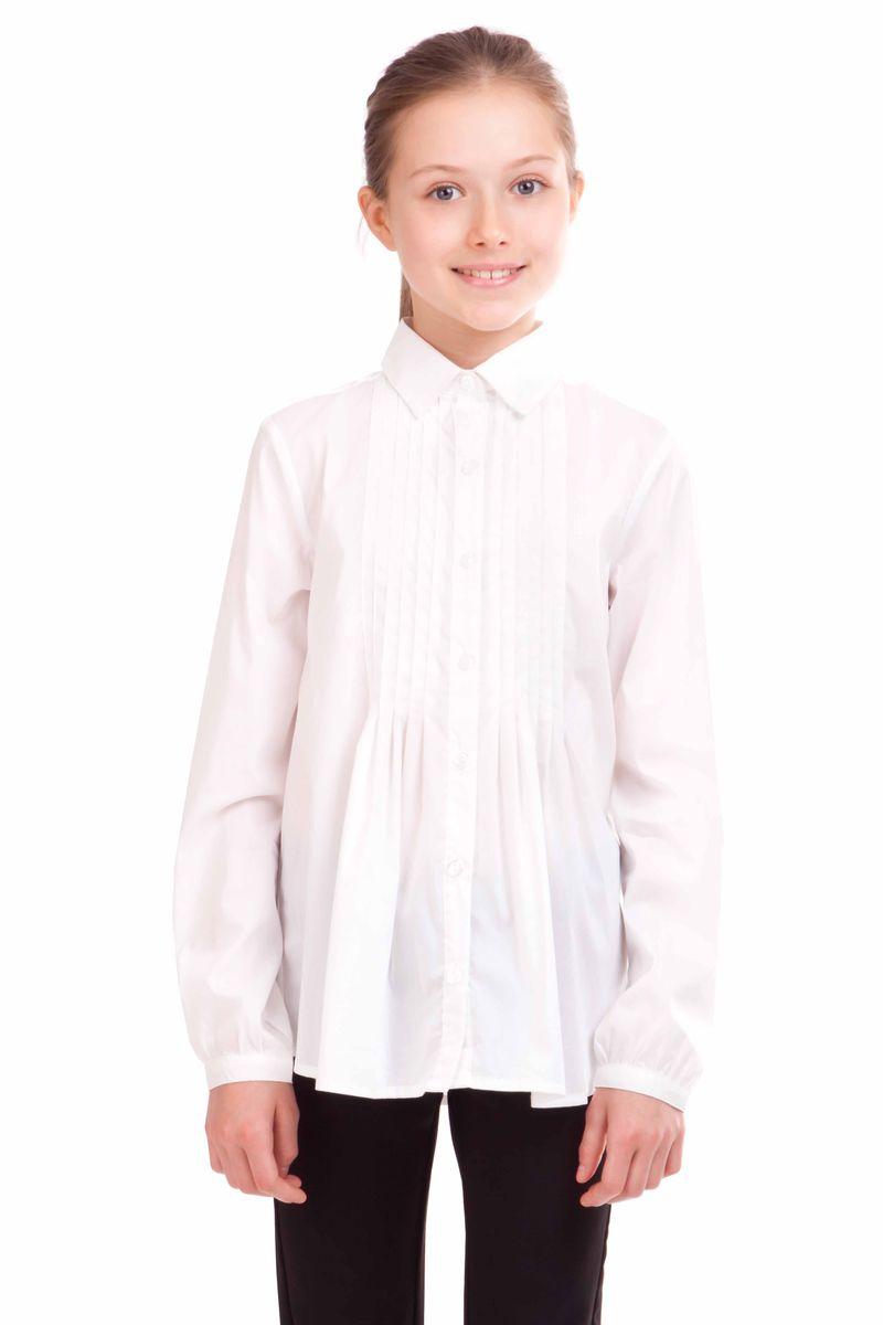 21502GSC2212Школьные блузки для девочек очень важны. Детские блузки - проявление индивидуальности, характера, вкуса. Эта модель хороша и на каждый день, и для торжественных случаев. В составе ткани значительное содержание хлопка. Нейлон и эластан играют роль смягчающего волокна и гарантируют комфортную посадку изделия на фигуре. Блузка сдержанна, но очень красива и элегантна. В оформлении модели эффектная сборка на полочке, подчеркивающая безупречный вкус своей обладательницы.