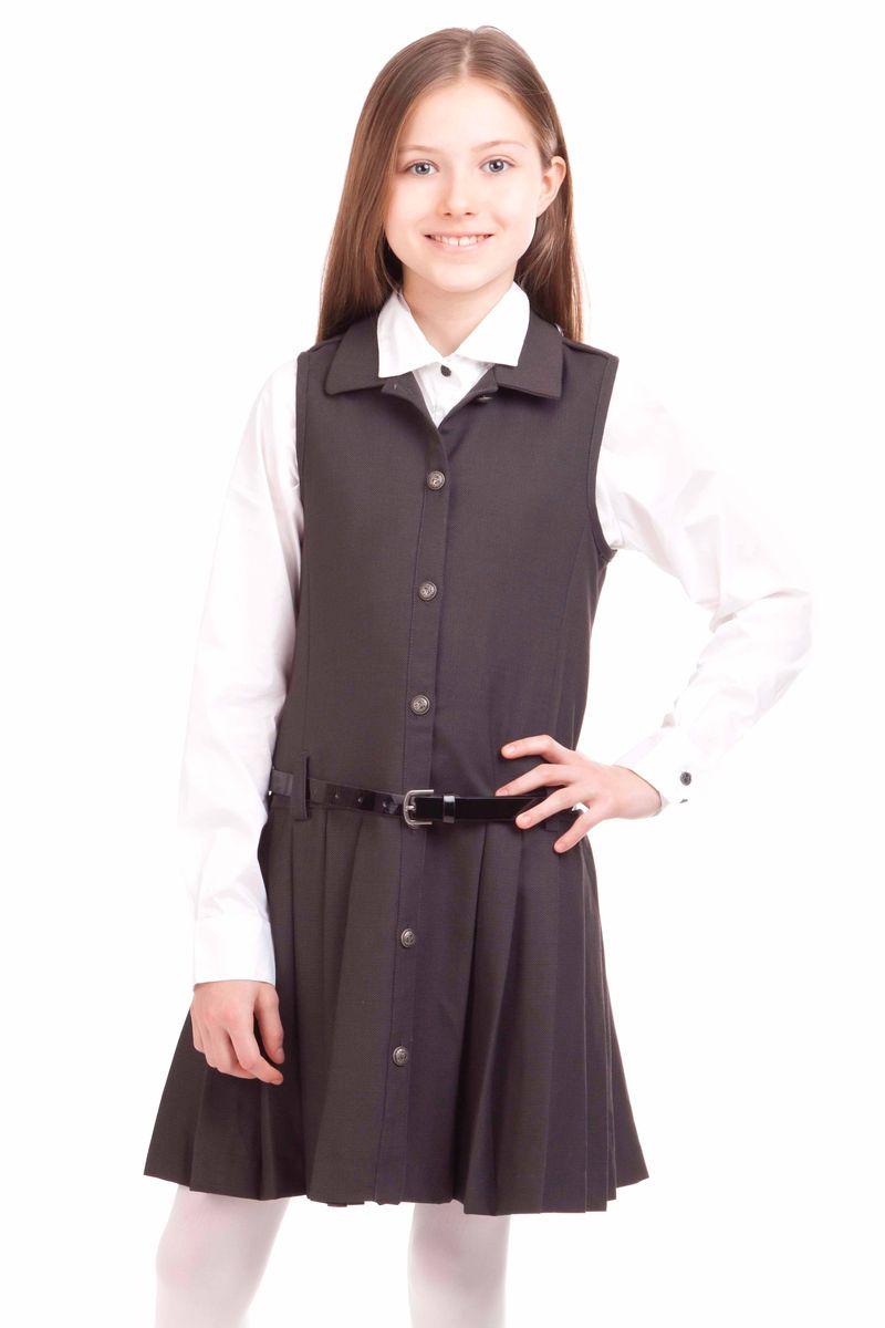 21502GSC2502Купить школьный сарафан проще простого. Но купить стильный сарафан для школы, который украсит и порадует ребенка не очень легко. Замечательный сарафан из ткани с содержанием шерсти выглядит красиво и интересно. Прекрасный силуэт, юбка в складку, оригинальные металлические пуговицы с монограммой GSC (Gulliver School Collection) делают сарафан очень деликатным, изящным, выразительным. Сарафан выглядит очень элегантно с блузкой или прилегающей футболкой из вискозы или хлопка.