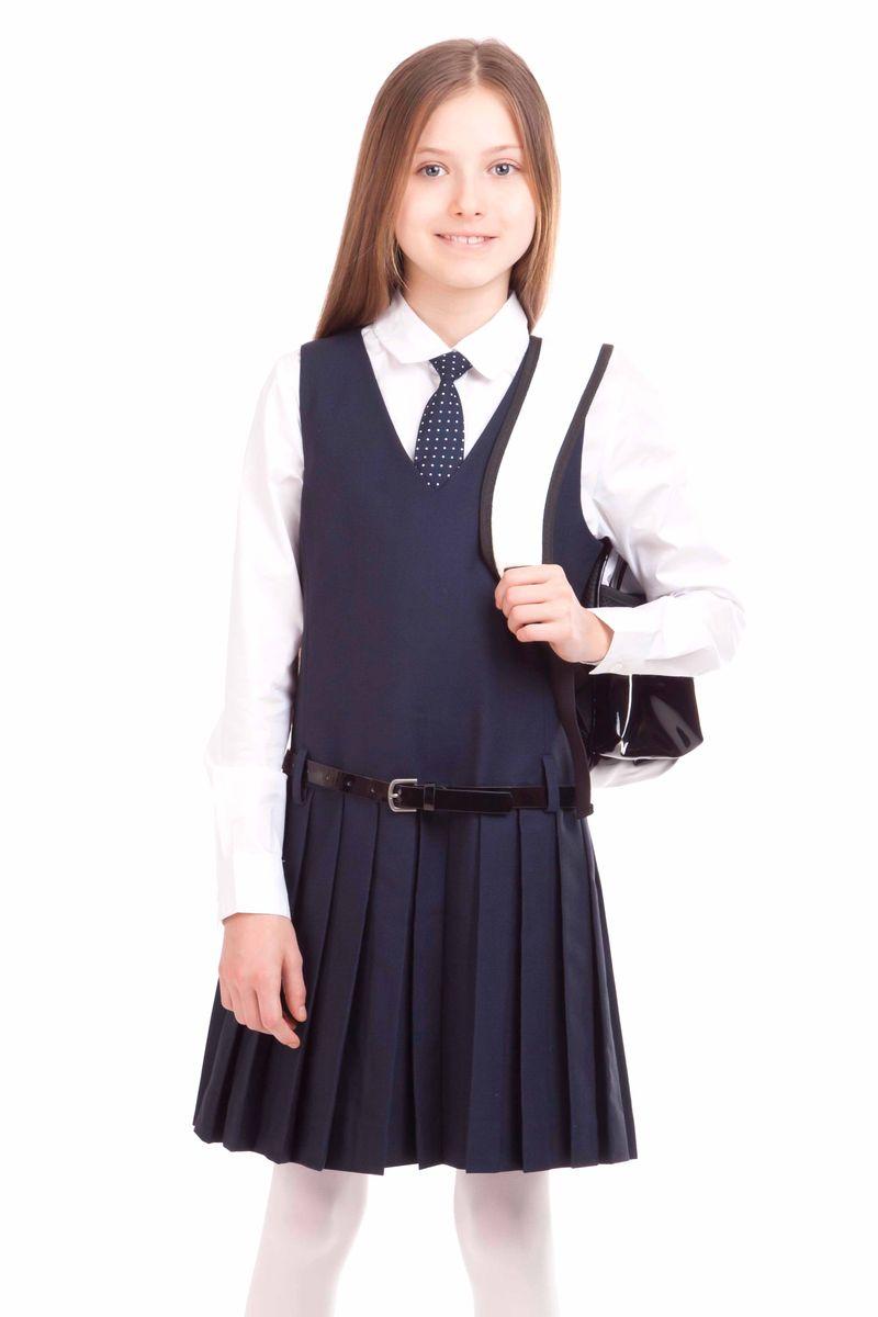 21502GSC2505Замечательный школьный сарафан выглядит стильно и выразительно. Элегантный силуэт, юбка в складку, V-образная горловина наилучшим образом поддерживают деловой имидж ученицы. И с блузкой, и с водолазкой, и с поло, школьный сарафан составит красивый комфортный комплект.