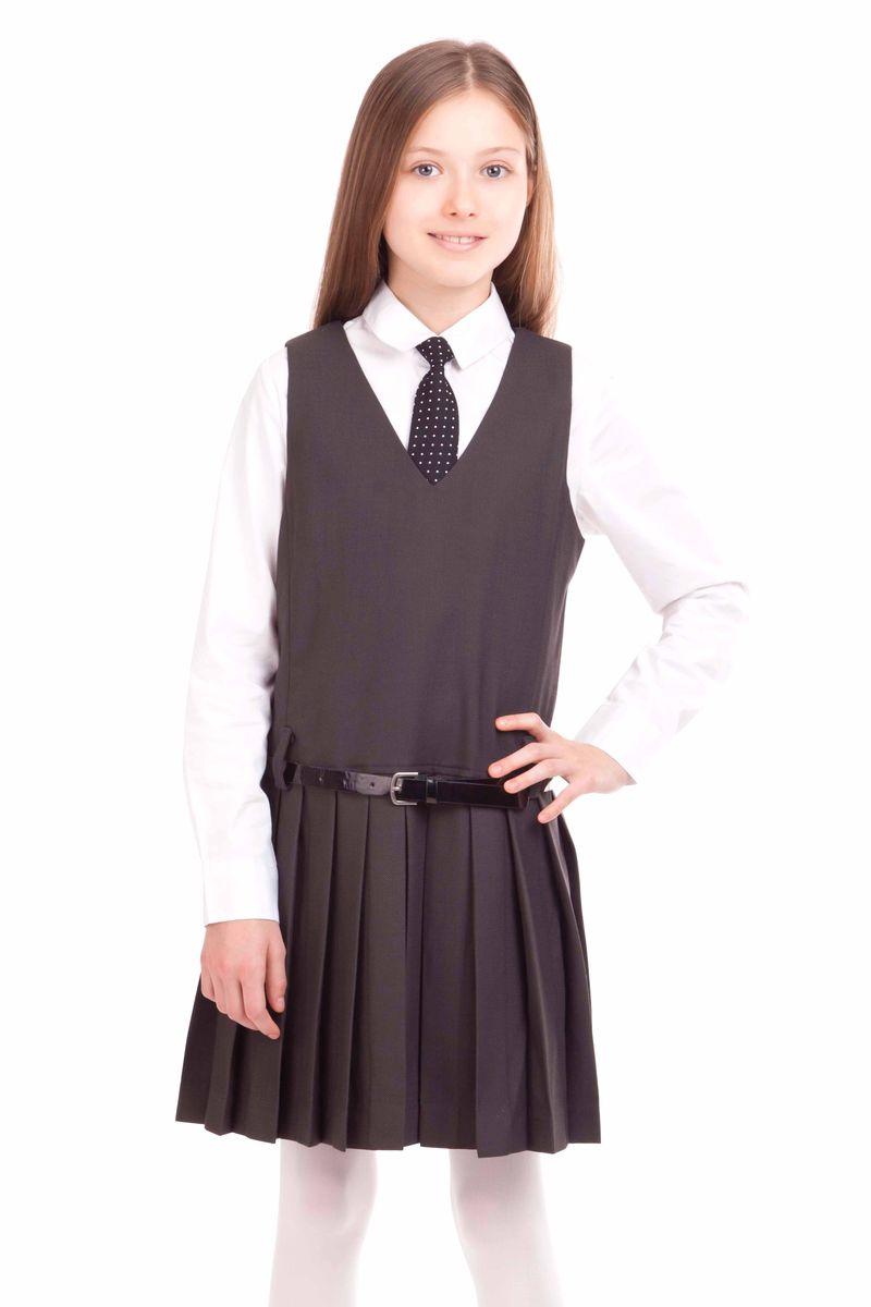 Сарафан21502GSC2505Замечательный школьный сарафан выглядит стильно и выразительно. Элегантный силуэт, юбка в складку, V-образная горловина наилучшим образом поддерживают деловой имидж ученицы. И с блузкой, и с водолазкой, и с поло, школьный сарафан составит красивый комфортный комплект.