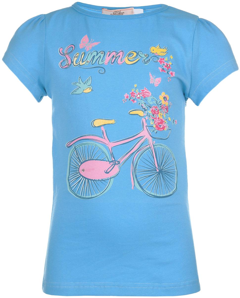 ФутболкаSSF262V17-14Футболка для девочки M&D сделает образ ребенка ярким и интересным. Изготовленная из мягкого эластичного хлопка, она приятная на ощупь, не сковывает движения и хорошо пропускает воздух, обеспечивая комфорт. Футболка с круглым вырезом горловины и короткими рукавами-фонариками оформлена принтом с изображением велосипеда, а также принтовой надписью. Изделие декорировано стразами. Современный дизайн и расцветка делают эту модель стильным предметом детского гардероба. В ней юная модница будет чувствовать себя уютно, комфортно и всегда будет в центре внимания!