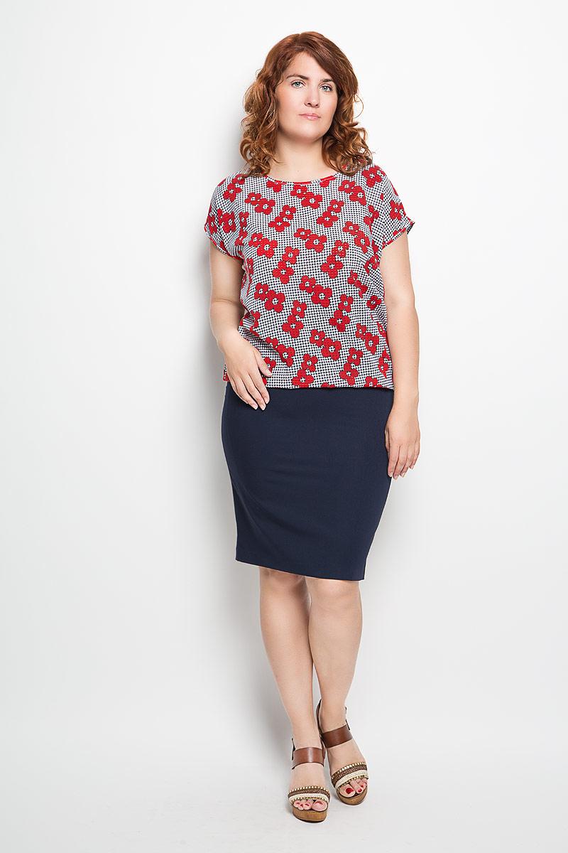 Блузка030416Стильная женская блузка Milana Style, выполненная из вискозы с добавлением полиамида и эластана, подчеркнет ваш уникальный стиль и поможет создать женственный образ. Модель c круглым вырезом горловины и короткими рукавами сзади дополнена небольшим разрезом на завязках, низ собран на резинку. Изделие оформлено оригинальным принтом. Такая блузка будет дарить вам комфорт в течение всего дня и послужит замечательным дополнением к вашему гардеробу.