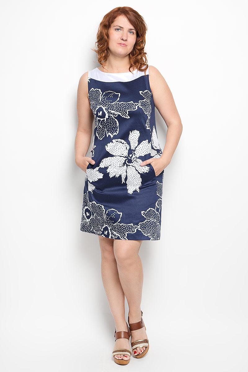 Платье. 020416020416Платье Milana Style идеально подойдет для вас и станет стильным дополнением к вашему гардеробу. Выполненное из хлопка с добавлением эластана, оно очень приятное на ощупь, не сковывает движений и хорошо вентилируется. Модель с круглым вырезом горловины, без рукавов оформлена оригинальным цветочным принтом. Спереди платье-миди дополнено небольшими втачными карманами. Такое платье поможет создать яркий и привлекательный образ, в нем вам будет удобно и комфортно.