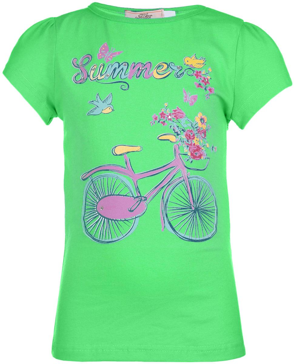 SSF262V17-14Футболка для девочки M&D сделает образ ребенка ярким и интересным. Изготовленная из мягкого эластичного хлопка, она приятная на ощупь, не сковывает движения и хорошо пропускает воздух, обеспечивая комфорт. Футболка с круглым вырезом горловины и короткими рукавами-фонариками оформлена принтом с изображением велосипеда, а также принтовой надписью. Изделие декорировано стразами. Современный дизайн и расцветка делают эту модель стильным предметом детского гардероба. В ней юная модница будет чувствовать себя уютно, комфортно и всегда будет в центре внимания!