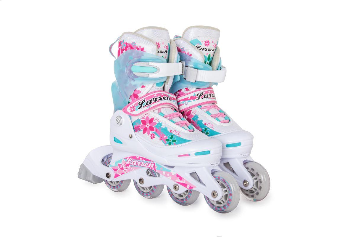 Ролики раздвижные Flower, для девочек. 261455261455Идеальная модель роликов для прекрасных роллерш! Мягкий вентилируемый ботинок, достаточно быстрые подшипники и удобные застежки-клипсы. Раздвижной механизм позволяет регулировать размер сапожка точно под вашу ногу, что очень удобно, ведь вы можете надеть носки потолще или нога может немного отечь к вечеру – и независимо ни от чего, ваше катание на роликах Larsen Pink всегда будет комфортным. Подшипники: АВЕС 5. Пяточный тормоз.