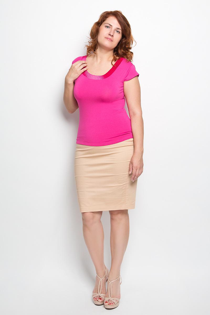 Футболка женская. 5504055040Стильная женская футболка Milana Style, выполненная из вискозы с дополнением эластана, обладает высокой теплопроводностью, воздухопроницаемостью и гигроскопичностью, позволяет коже дышать. Модель с короткими рукавами-крылышками и круглым вырезом горловины - идеальный вариант для создания стильного современного образа. Спереди модель дополнена оригинальной вставкой из гофрированного материала. Такая модель подарит вам комфорт в течение всего дня и послужит замечательным дополнением к вашему гардеробу.