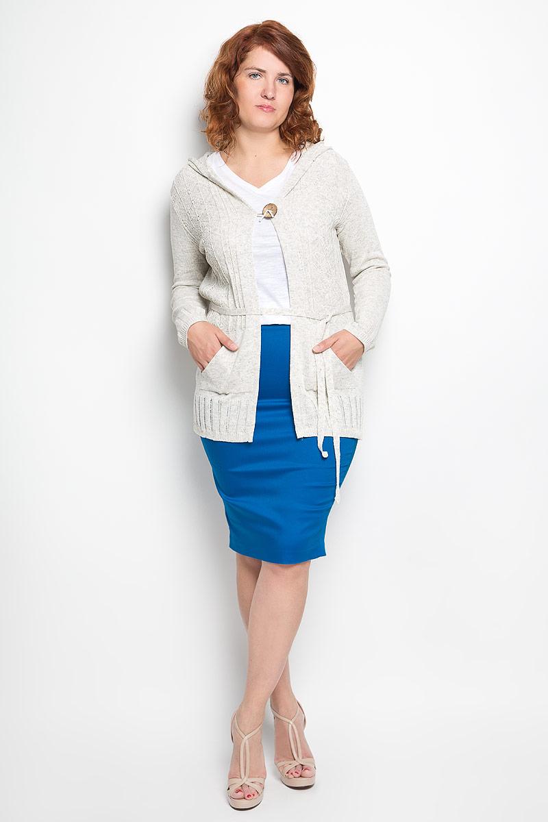 w279Женский кардиган Milana Style подарит вам комфорт в течение всего дня. Благодаря своему составу, в который входит ПАН-волокно и хлопок, изделие мягкое, тактильно приятное, обладает высокими дышащими свойствами. Кардиган с капюшоном и длинными рукавами застегивается на крупную пуговицу. Спереди расположены два втачных кармана. Линию талии подчеркивает текстильный поясок. Изделие оформлено вязаным рисунком. Такая модель займет достойное место в вашем гардеробе!