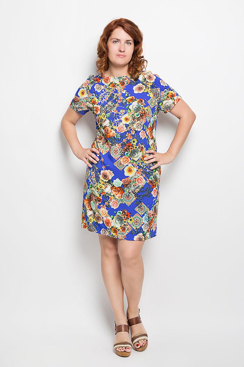 Платье110416Платье Milana Style, выполненное из мягкого и легкого материала, поможет создать яркий женственный образ. Ткань изделия тактильно приятная, хорошо пропускает воздух. Модель с круглым вырезом горловины и короткими рукавами-реглан оформлена цветочным принтом. Такое платье станет замечательным дополнением к вашему гардеробу!