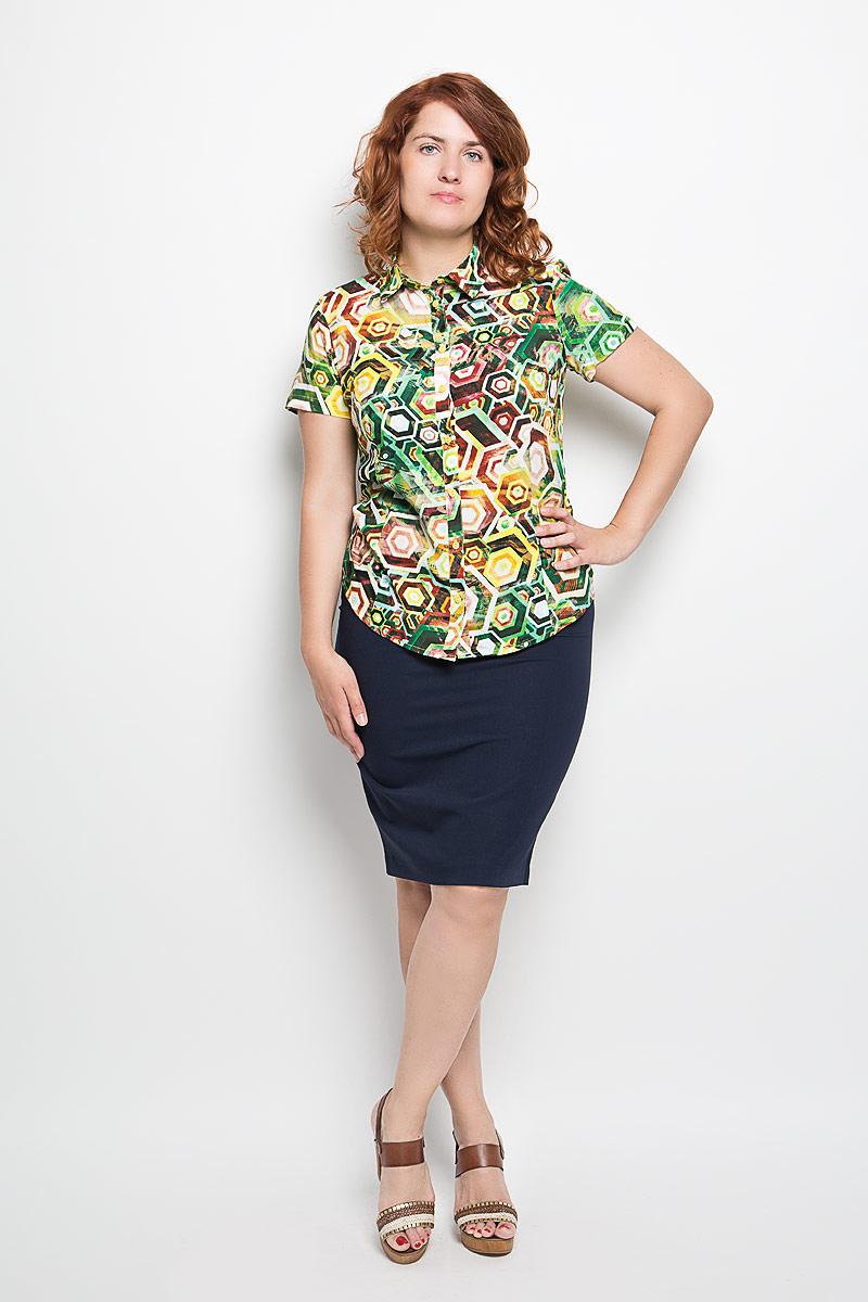 Блузка женская. 050416050416Женская блузка Milana Style, выполненная из мягкого и легкого материала, прекрасно дополнит ваш образ. Изделие тактильно приятное, не сковывает движения и хорошо вентилируется. Блузка с отложным воротником и короткими рукавами застегивается спереди на пуговицы. Модель имеет слегка приталенный силуэт. Оформлено изделие ярким красочным принтом. Такая блузка будет дарить вам комфорт в течение всего дня и станет стильным дополнением к вашему гардеробу!