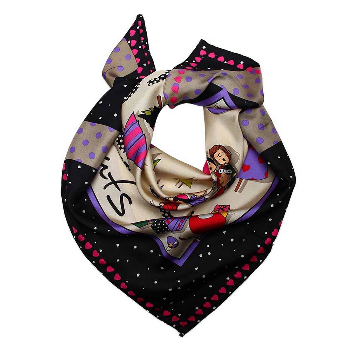 1800971-6Стильный женский платок Codello изготовлен из натурального шелка и оформлен оригинальным принтом. Классическая квадратная форма позволяет носить платок на шее, украшать им прическу или декорировать сумочку. Такой платок превосходно дополнит любой наряд и подчеркнет ваш неповторимый вкус и элегантность.