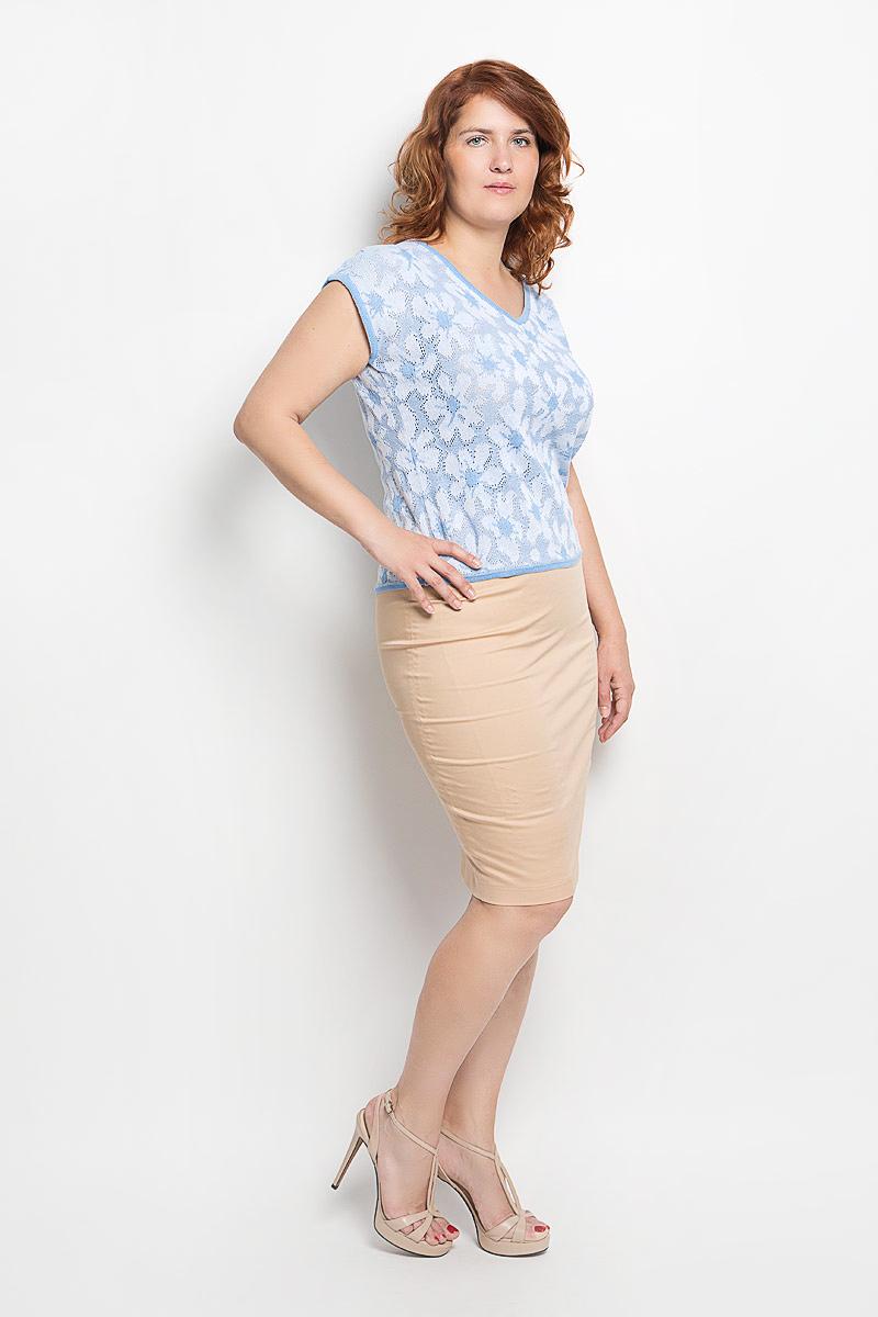 Футболкаw95Стильная вязаная женская футболка Milana Style, выполненная из хлопка и ПАНа, прекрасно подойдет для повседневной носки. Материал очень мягкий и приятный на ощупь, не сковывает движения и позволяет коже дышать. Футболка с V-образным вырезом горловины и цельнокроеными короткими рукавами оформлена оригинальным ажурным узором. Вырез горловины, края рукавов и низ модели связаны мелкой резинкой, что предотвращает деформацию при носке. Такая модель будет дарить вам комфорт в течение всего дня и станет модным дополнением к вашему гардеробу.