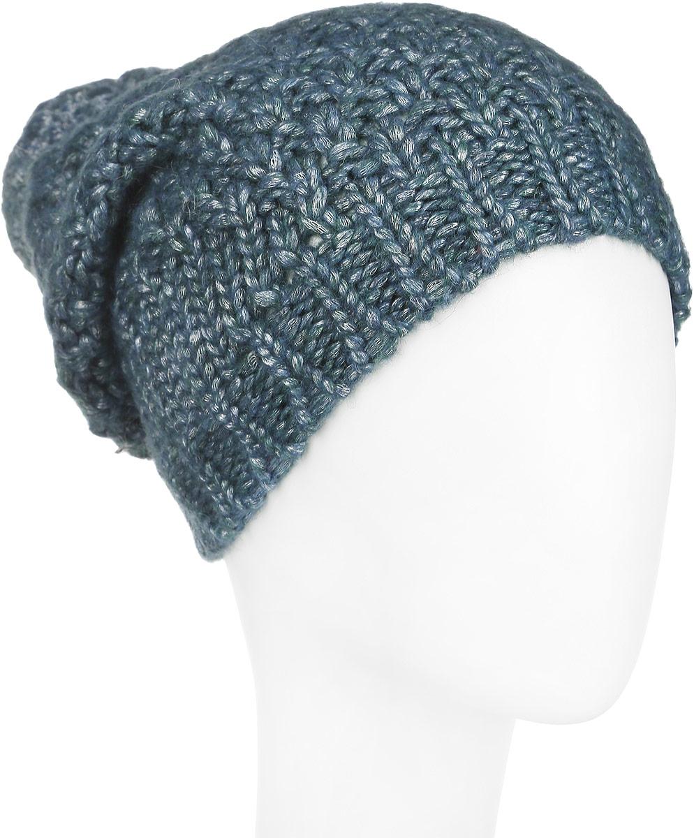 Шапка женская. 98053379805337Оригинальная женская шапка Venera дополнит ваш наряд и не позволит вам замерзнуть в холодное время года. Шапка выполнена из высококачественной комбинированной пряжи, что позволяет ей великолепно сохранять тепло и обеспечивает высокую эластичность и удобство посадки. Пряжа имеет легкий металлический блеск. Шапка дополнена вязаной резинкой и дополнена большим помпоном. Такая шапка станет модным и стильным дополнением вашего зимнего гардероба, великолепно подойдет для активного отдыха и занятия спортом. Она согреет вас и позволит подчеркнуть свою индивидуальность!