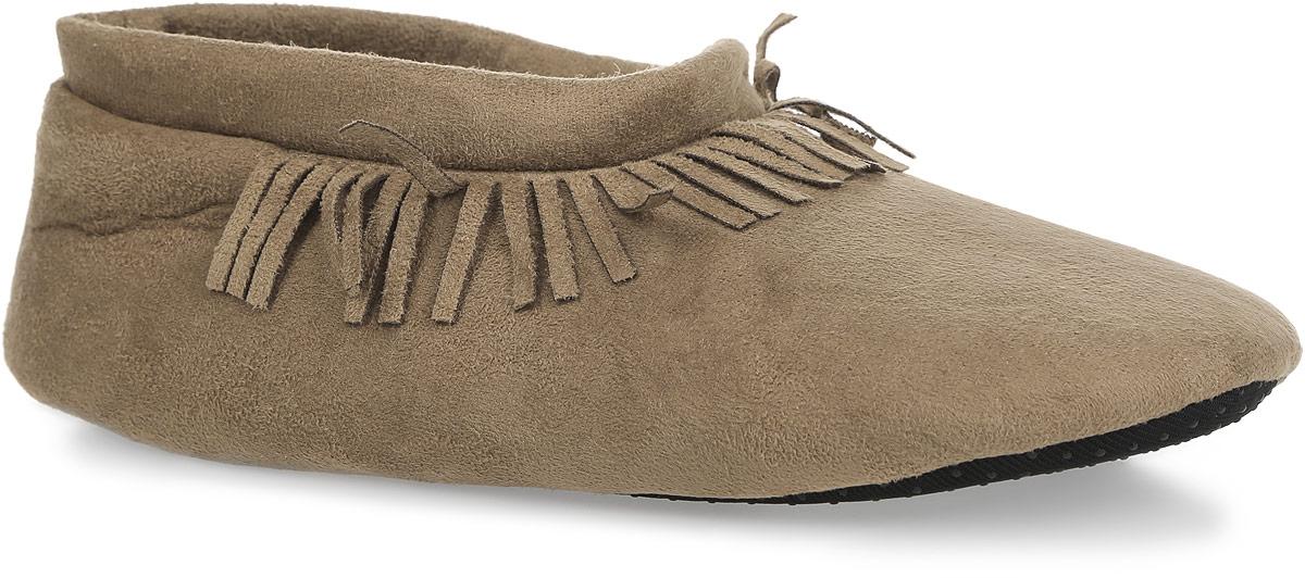 Тапки женские. 6714567145Прелестные женские тапки от Isotoner помогут отдохнуть вашим ножкам после трудового дня. Модель выполнена из полиэстера и оформлена в области подъема бахромой. Подкладка и стелька, изготовленные из текстиля, комфортны при ходьбе. Подошва выполнена из полиэстера с прорезиненными вставками, предотвращающими скольжение. Такие тапочки придутся вам по душе.