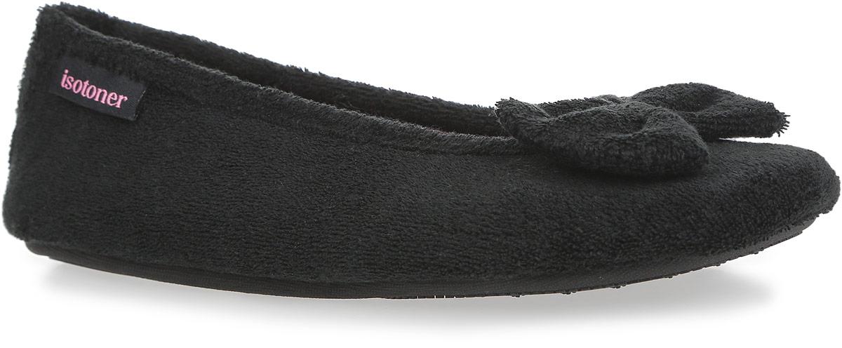 Тапки женские. 9327193271Очень комфортные женские тапки от Isotoner, стилизованные под балетки, помогут отдохнуть вашим ножкам после трудового дня. Модель выполнена из комбинации хлопка и полиэстера и оформлена милым бантом. Подкладка и стелька, изготовленные из текстиля, комфортны при ходьбе. Стелька принимает форму стопы, а после деформации быстро возвращается в свою первоначальную форму. Подошва с рельефным протектором обеспечивает сцепление с любыми поверхностями. Такие тапочки придутся вам по душе.