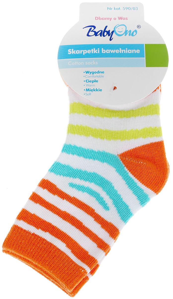 Носки590/03Удобные носочки BabyOno изготовлены из высококачественных материалов. Ткань очень мягкая и тактильно приятная, позволяет коже дышать. Эластичная резинка мягко облегает ножку ребенка. Модель оформлена ярким принтом в полоску. Такие носочки подарят малышу тепло и комфорт!