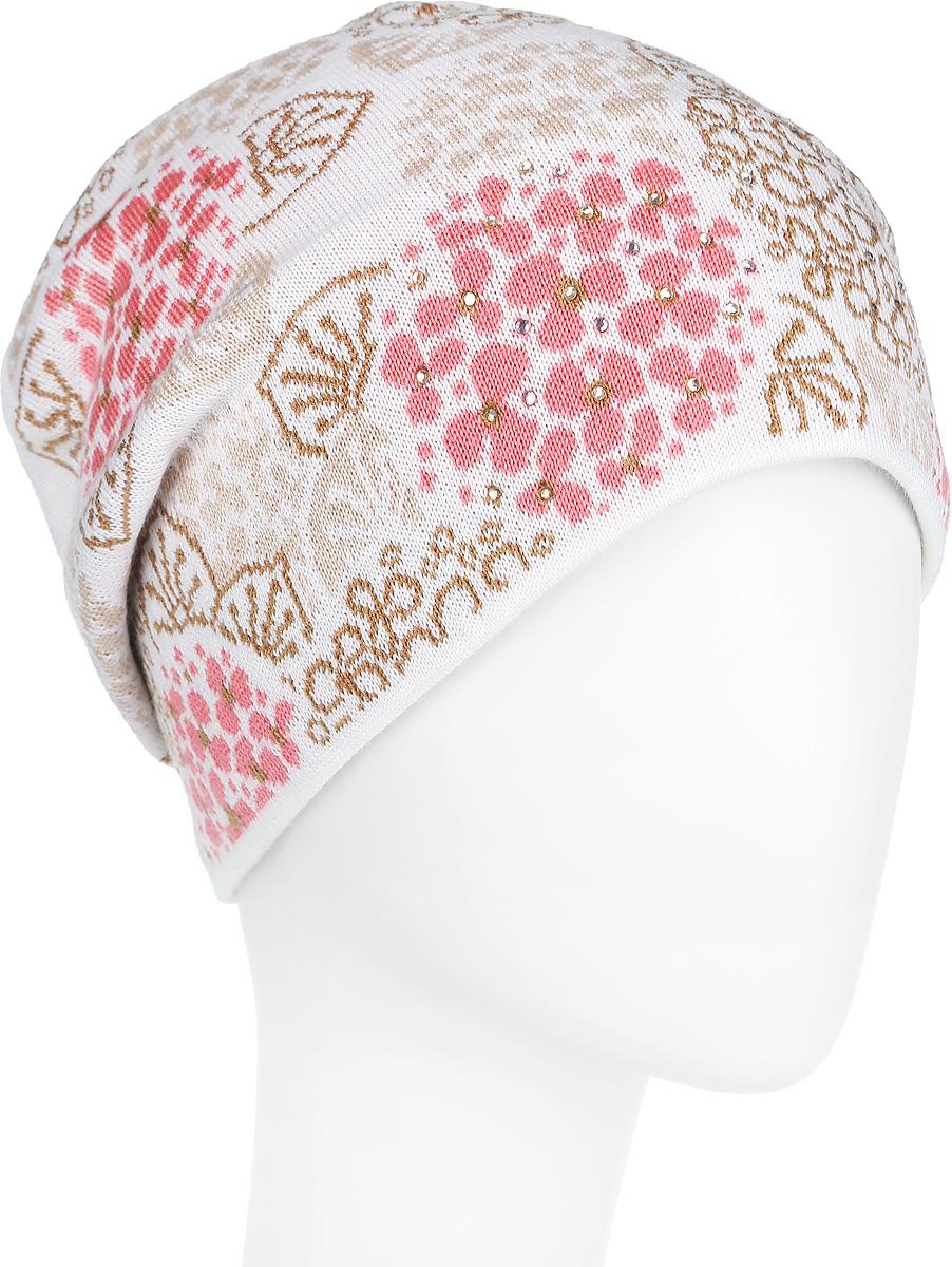 Шапка женская. 2-0132-013-001/157Оригинальная женская шапка Flioraj дополнит ваш наряд и не позволит вам замерзнуть в холодное время года. Шапка выполнена из высококачественной комбинированной пряжи из шерсти и акрила, что позволяет ей великолепно сохранять тепло и обеспечивает высокую эластичность и удобство посадки. Модель имеет подкладку из флиса, благодаря чему она не продувается и превосходно отводит влагу от тела. Шапка оформлена контрастным цветочным узором и украшена сверкающими стразами. Такая шапка станет модным и стильным дополнением вашего зимнего гардероба, великолепно подойдет для активного отдыха и занятия спортом. Она согреет вас и позволит подчеркнуть свою индивидуальность! Уважаемые клиенты! Размер, доступный для заказа, является обхватом головы.