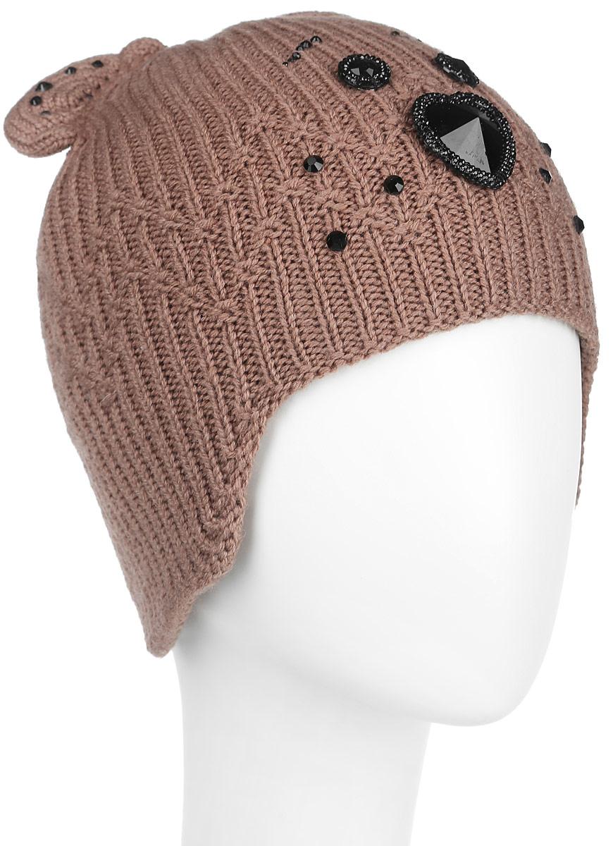 Шапка женская. 434434Оригинальная женская шапка Flioraj дополнит ваш наряд и не позволит вам замерзнуть в холодное время года. Шапка выполнена из высококачественной комбинированной пряжи из шерсти и акрила, что позволяет ей великолепно сохранять тепло и обеспечивает высокую эластичность и удобство посадки. Шапка оформлена крупными блестящими стразами, образующими мордочку медвежонка, и дополнена небольшими вязаными медвежьими ушками сверху. Такая шапка станет модным и стильным дополнением вашего зимнего гардероба, великолепно подойдет для городских прогулок, а также активного отдыха и занятия спортом. Она согреет вас и позволит подчеркнуть свою индивидуальность! Уважаемые клиенты! Обращаем ваше внимание на тот факт, что размер, доступный для заказа, является обхватом головы.
