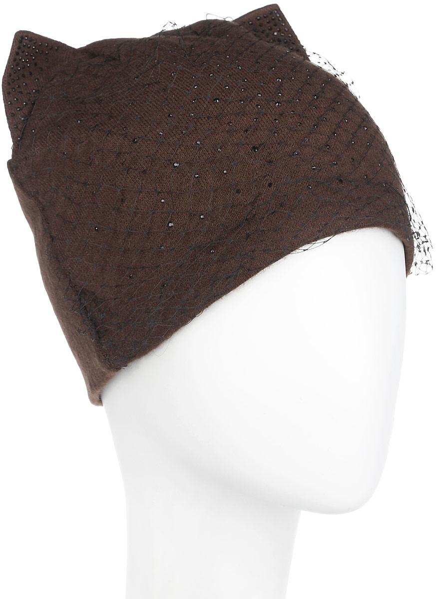 Шапка женская. 337337Оригинальная женская шапка Flioraj дополнит ваш наряд и не позволит вам замерзнуть в холодное время года. Шапка выполнена из высококачественной комбинированной пряжи из шерсти и полиэстера, что позволяет ей великолепно сохранять тепло и обеспечивает высокую эластичность и удобство посадки. Шапка оформлена мелкими стразами, дополнена декоративной сеткой и украшена небольшими вязаными треугольными ушками сверху. Такая шапка станет модным и стильным дополнением вашего зимнего гардероба, великолепно подойдет для городских прогулок, а также активного отдыха и занятия спортом. Она согреет вас и позволит подчеркнуть свою индивидуальность! Уважаемые клиенты! Обращаем ваше внимание на тот факт, что размер, доступный для заказа, является обхватом головы.