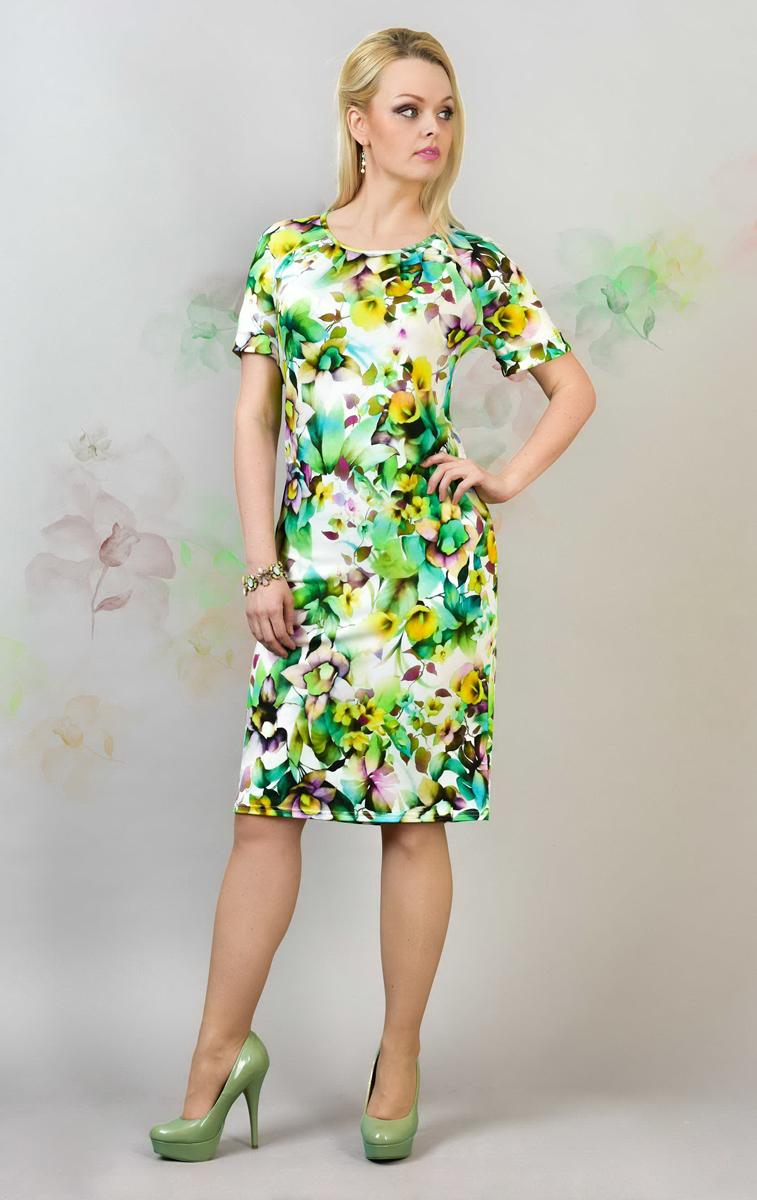 905мСтильное платье Milana Style, изготовленное из полиэстера и вискозы с добавлением лайкры, приятное на ощупь, не сковывает движения и обеспечивает комфорт. Платье-миди с круглым вырезом горловины и короткими рукавами-реглан оформлено цветочным принтом. Верхняя часть спинки дополнена небольшим вырезом, рукава - декоративными отворотами.