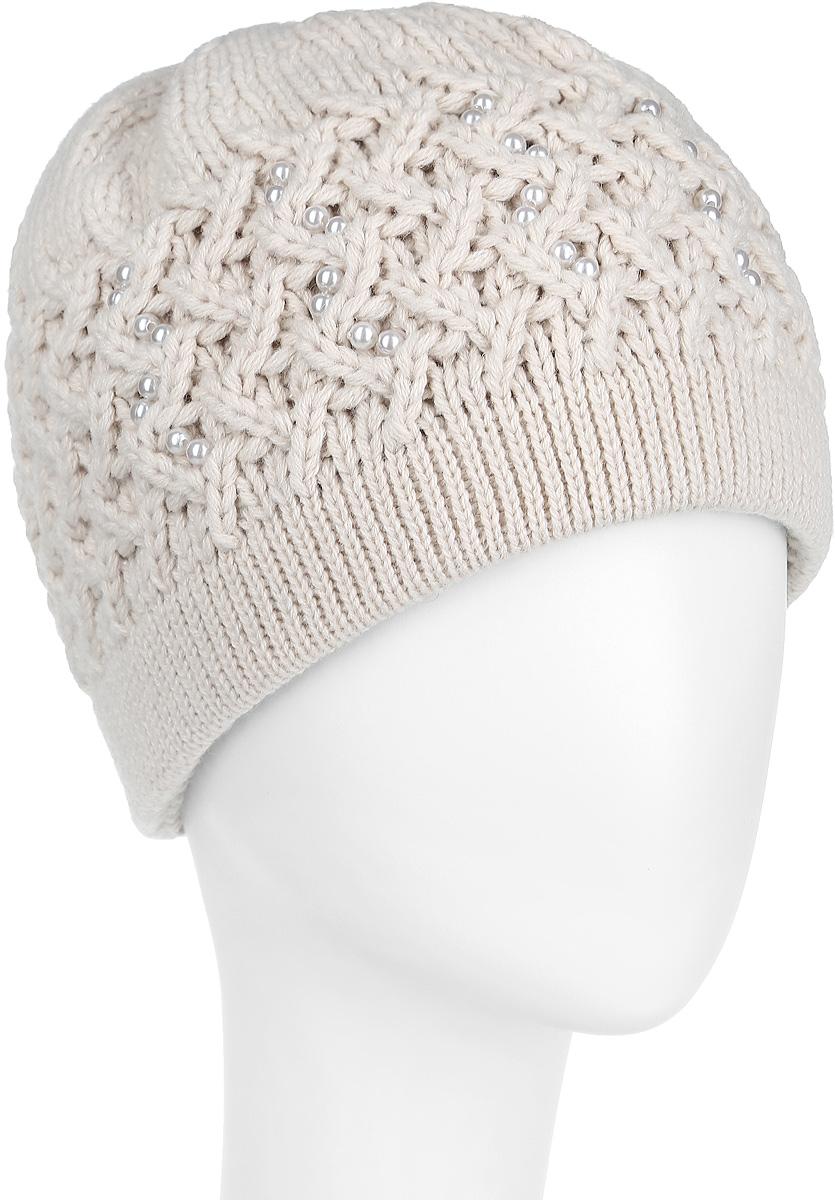 Шапка женская. 3-0373-037-514Стильная женская шапка Flioraj дополнит ваш наряд и не позволит вам замерзнуть в холодное время года. Шапка выполнена из высококачественной комбинированной пряжи из шерсти и акрила, что позволяет ей великолепно сохранять тепло и обеспечивает высокую эластичность и удобство посадки. Изделие дополнено вязаной подкладкой, благодаря чему не продувается и комфортно сидит. Шапка оформлена оригинальным объемным вязаным узором и украшена блестящими бусинами. Такая шапка станет модным и стильным дополнением вашего зимнего гардероба, великолепно подойдет для активного отдыха и занятия спортом. Она согреет вас и позволит вам подчеркнуть свою индивидуальность! Уважаемые клиенты! Размер, доступный для заказа, является обхватом головы.