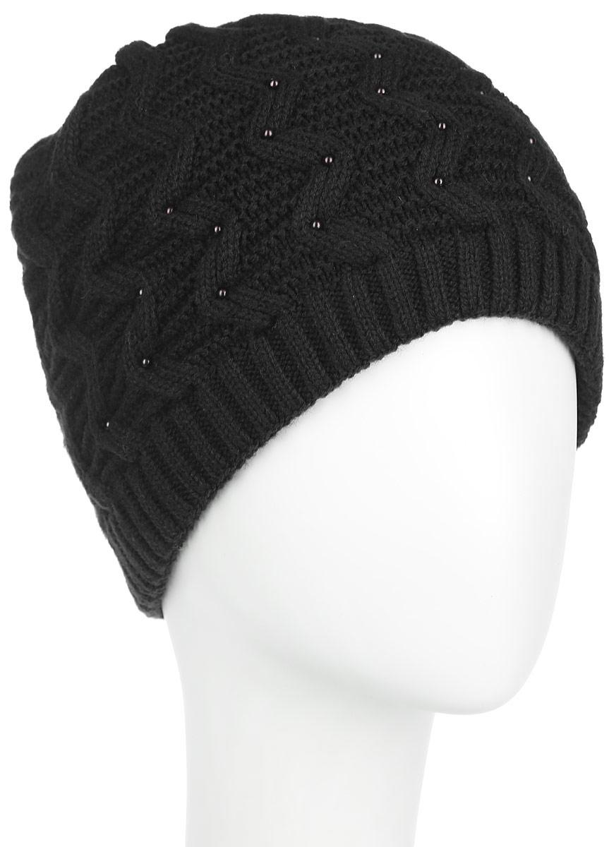 Шапка женская. 3-0013-001_002Стильная женская шапка Flioraj с фактурной вязкой дополнит ваш образ в холодную погоду. Модель выполнена из высококачественной шерсти в сочетании с акрилом, мягкая и приятная на ощупь. Шапочка двойная, идеально прилегает к голове, надежно защищая от ветра и мороза. Край шапки связан резинкой средней ширины. Изделие оформлено вязаным узором. Спереди модель декорирована бусинами. Такой теплый аксессуар подчеркнет вашу индивидуальность, а также защитит от холода и создаст ощущение комфорта. Уважаемые клиенты! Размер, доступный для заказа, является обхватом головы.