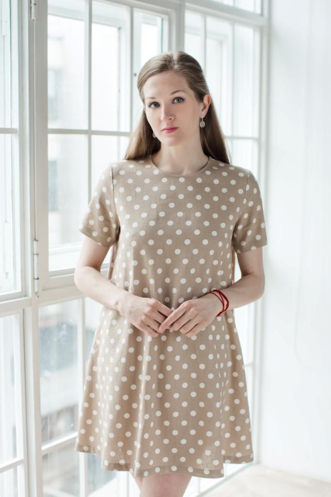Платье-трапеция с коротким рукавом. 7117112671171126