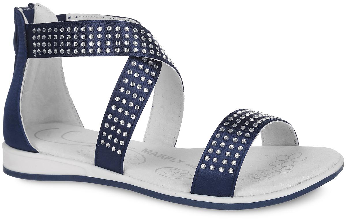 142-502-5Модные сандалии от MakFly придутся по душе вашей моднице и идеально подойдут для повседневной носки в летнюю погоду! Модель изготовлена из текстиля и оформлена стразами. Один из ремешков, переплетенных на подъеме, дополнен эластичной резинкой для надежной посадки модели на ноге ребенка. Задник оснащен застежкой-молнией. Внутренняя поверхность и стелька из натуральной кожи комфортны при ходьбе. Подошва с рифлением обеспечивает отличное сцепление с любой поверхностью. Стильные сандалии - незаменимая вещь в гардеробе каждой девочки!