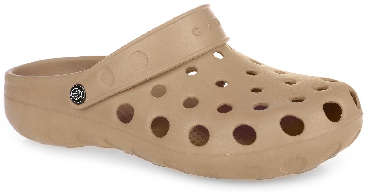 Сабо мужские. 1Z1ZОчень легкие сабо от OYO с ремешком на пятке и закрытым мыском, выполненные полностью из ЭВА материала - это превосходный вид обуви. Ремешок на пятке дополнен символикой бренда. Материал ЭВА имеет пористую структуру, обладает великолепными теплоизоляционными и морозостойкими свойствами, 100% водонепроницаемостью, придает обуви амортизационные свойства, мягкость при ходьбе, устойчивость к истиранию подошвы. Рифление на верхней поверхности подошвы предотвращает выскальзывание ноги. Рельефное основание подошвы обеспечивает уверенное сцепление с любой поверхностью. Удобные сабо прекрасно подойдут для работы в огороде, для похода в бассейн или на пляж.