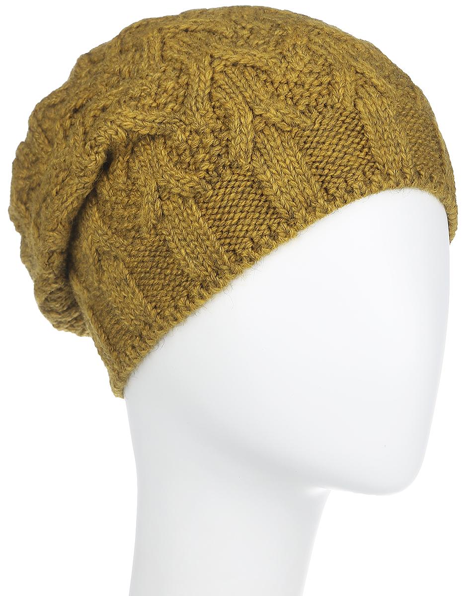 Шапка21024AУдлиненная женская шапка Dispacci Аврора, выполненная из высококачественной шерсти, согреет вас в холодную погоду. Объемное модное плетение выглядит изысканно. Вязка в резинку по нижнему краю изделия обеспечивает удобную посадку. Изделие выполнено в классическом ярком цвете, что делает его универсальным. Мягкий, уютный, модный головной убор станет отличным дополнением к вашему гардеробу.