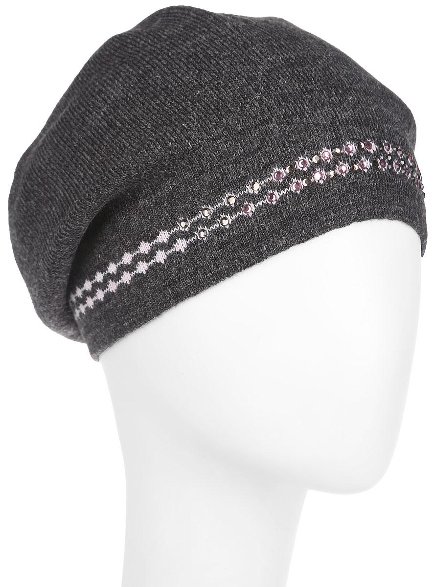 Шапка женская. 2012-6-44/392012-6-44/39Модная женская шапка Fabretti дополнит ваш образ и не позволит вам замерзнуть в холодное время года. Шапка изготовлена из полушерстяной пряжи, что позволяет ей великолепно сохранять тепло и обеспечивает высокую эластичность и удобство посадки. Модель выполнена гладкой вязкой и декорирована узором из страз. Такой головной убор отлично дополнит ваш образ и защитит от холода.