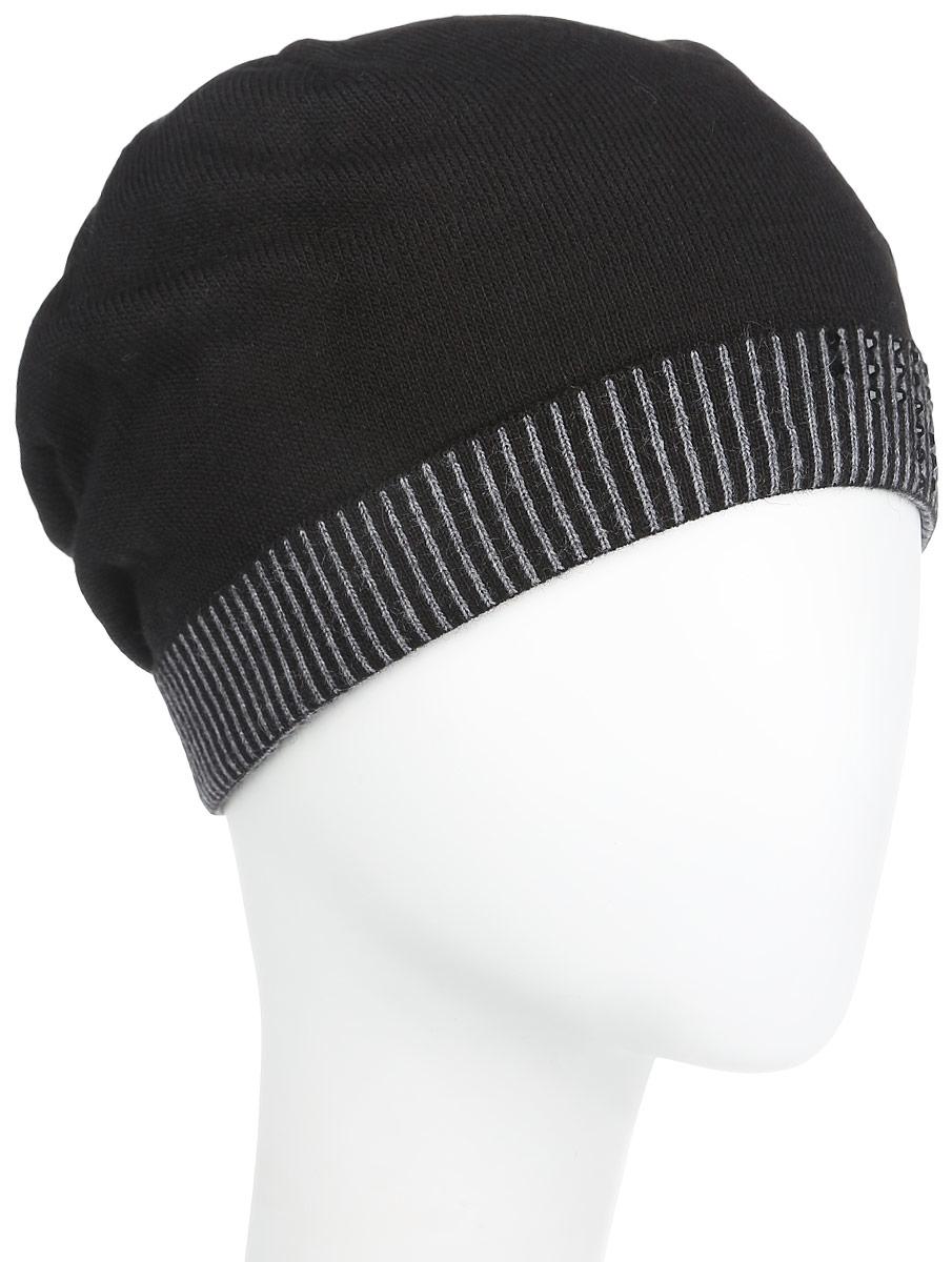 Шапка женская. 2012-72012-7-18/33Стильная женская шапка Fabretti дополнит ваш наряд и не позволит вам замерзнуть в холодное время года. Шапка выполнена из высококачественной комбинированной пряжи, что позволяет ей великолепно сохранять тепло и обеспечивает высокую эластичность и удобство посадки. Шапка оформлена сверкающими стразами и оригинальным цветочным орнаментом, сзади имеет декоративную складку. Такая шапка станет модным и стильным дополнением вашего зимнего гардероба, великолепно подойдет для активного отдыха и занятия спортом. Она согреет вас и позволит вам подчеркнуть свою индивидуальность!
