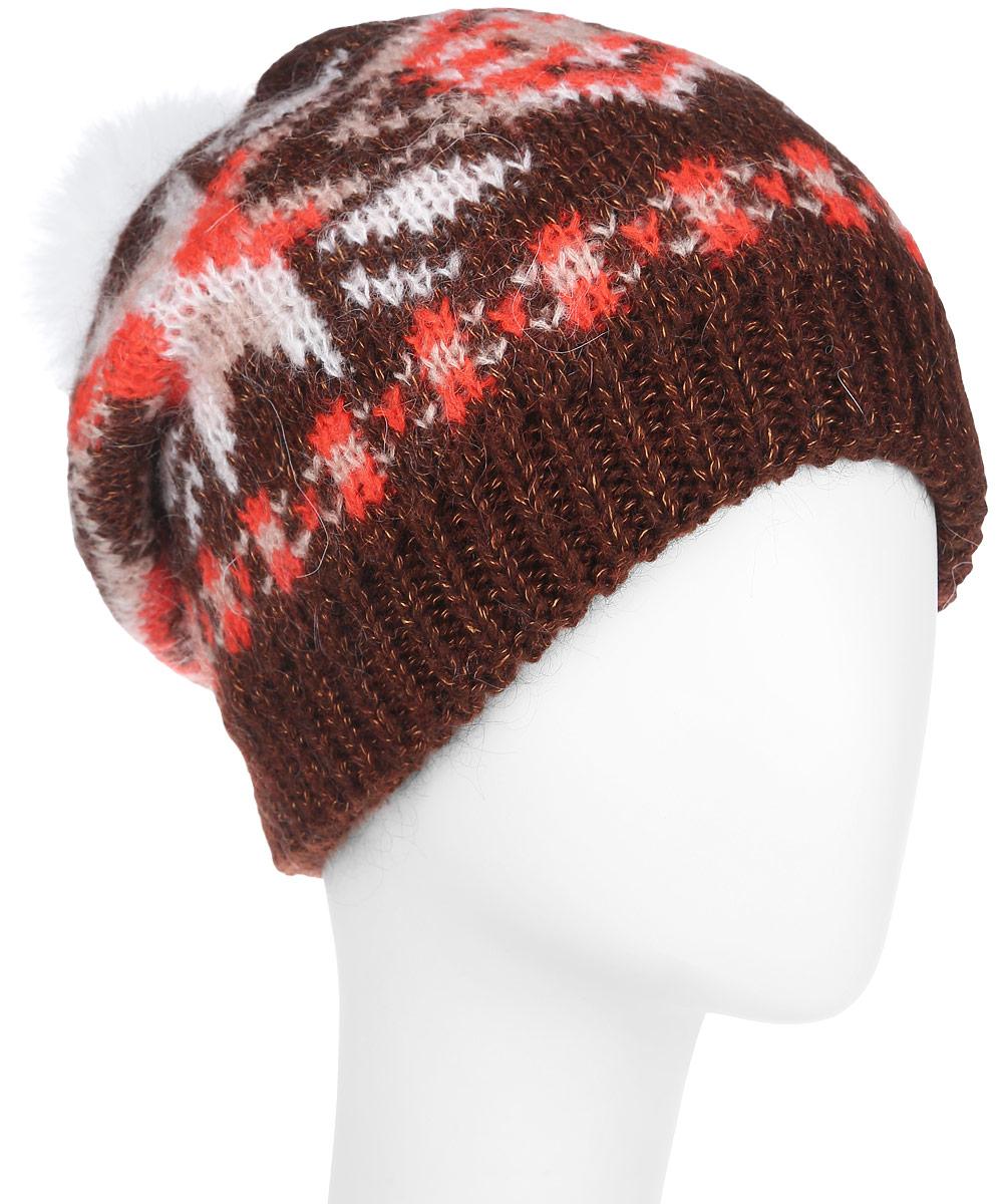 Шапка женская. S2015-8S2015-8-blueСтильная теплая женская шапка Fabretti отлично дополнит ваш образ в холодную погоду. Эта практичная шапка, невероятно мягкая, с внутренней подкладкой из флиса для дополнительного утепления. Сочетание материалов позволяет ей великолепно сохранять тепло и обеспечивать высокую эластичность и удобство посадки. Модель выполнена свободной вязкой и украшена орнаментом. Понизу шапка связана резинкой и на макушке оформлена меховым контрастным помпоном. Привлекательная стильная шапка Fabretti подчеркнет ваш неповторимый стиль и индивидуальность.