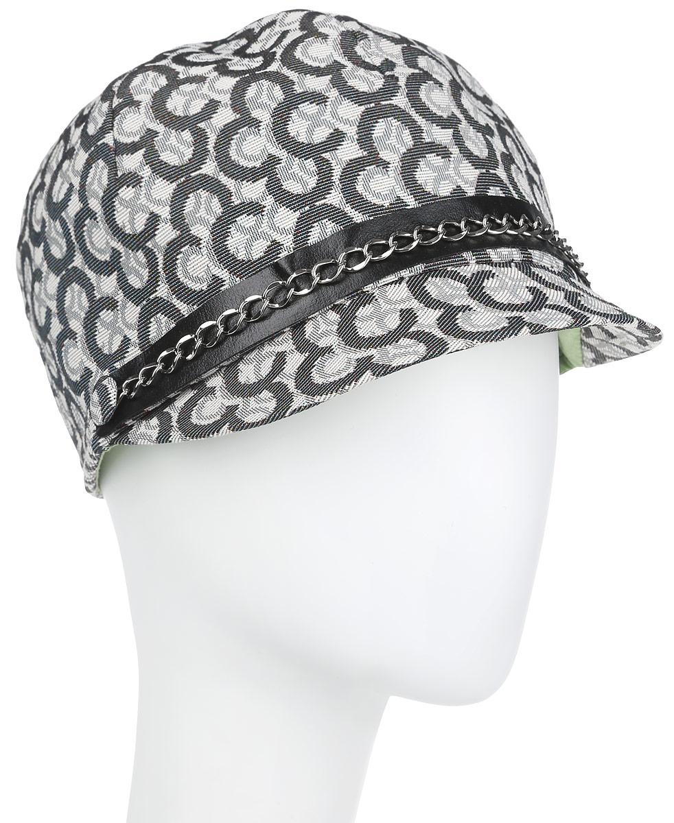Шляпа-жокейка женская. RC0163RC0163Модная шляпа-жокейка Dispacci, выполненная из хлопка с добавлением полиэфира в этом сезоне на пике популярности. Шляпа оформлена оригинальным принтом в виде логотипа бренда и контрастной лентой с металлической цепочкой спереди тульи. Благодаря своей форме, шляпа удобно садится по голове и подойдет к любому стилю. Шляпа легко восстанавливает свою форму после сжатия. Такая шляпка подчеркнет вашу неповторимость и дополнит ваш повседневный образ.