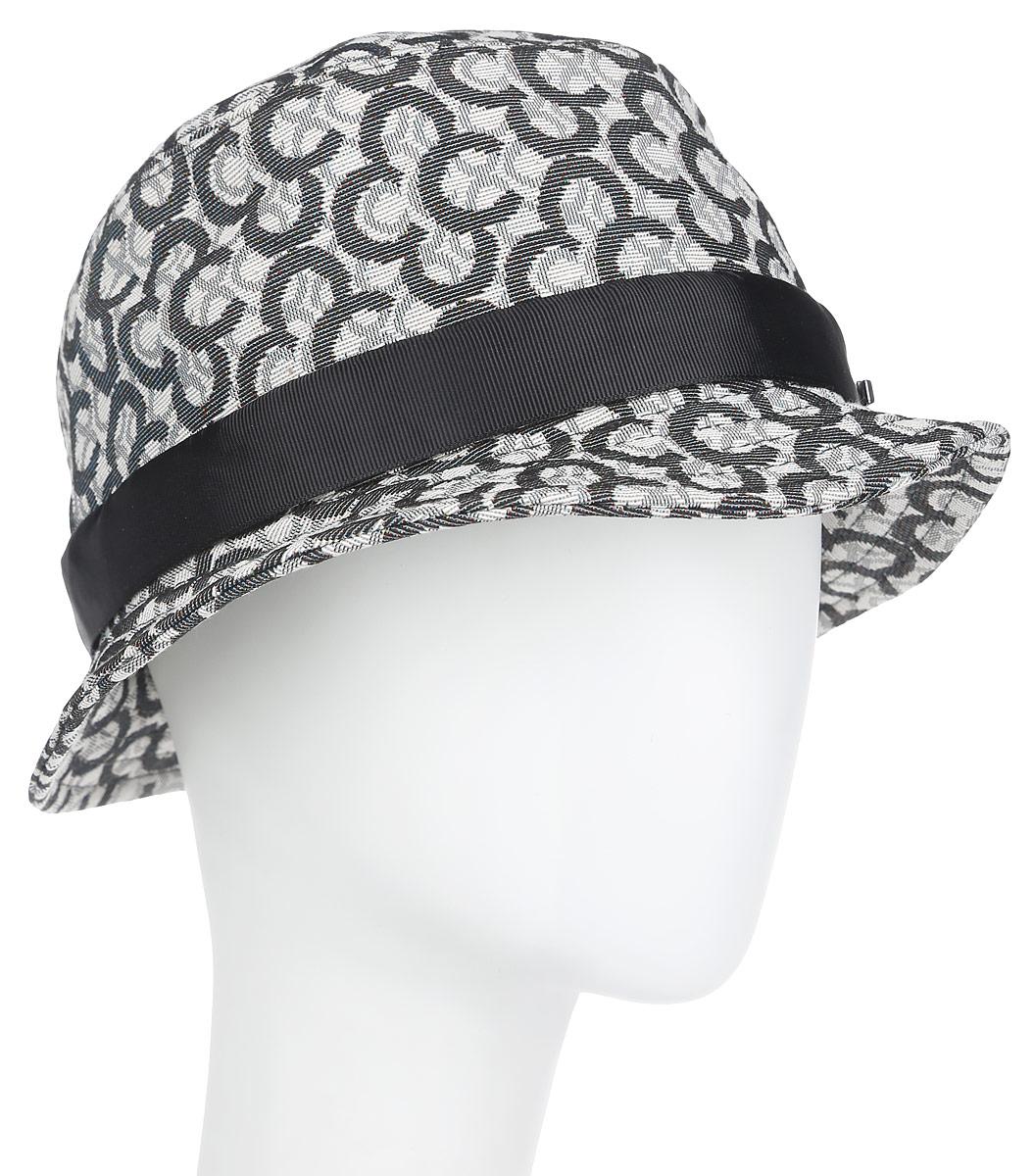 Шляпа женская. RC0161RC0161Модная шляпа с узкими полями Dispacci, выполненная из хлопка с добавлением полиэфира, украсит любой наряд. Шляпа оформлена оригинальным принтом в виде логотипа бренда и контрастной лентой вокруг тульи. Благодаря своей форме, шляпа удобно садится по голове и подойдет к любому стилю. Шляпа легко восстанавливает свою форму после сжатия. Такая шляпка подчеркнет вашу неповторимость и дополнит ваш повседневный образ.