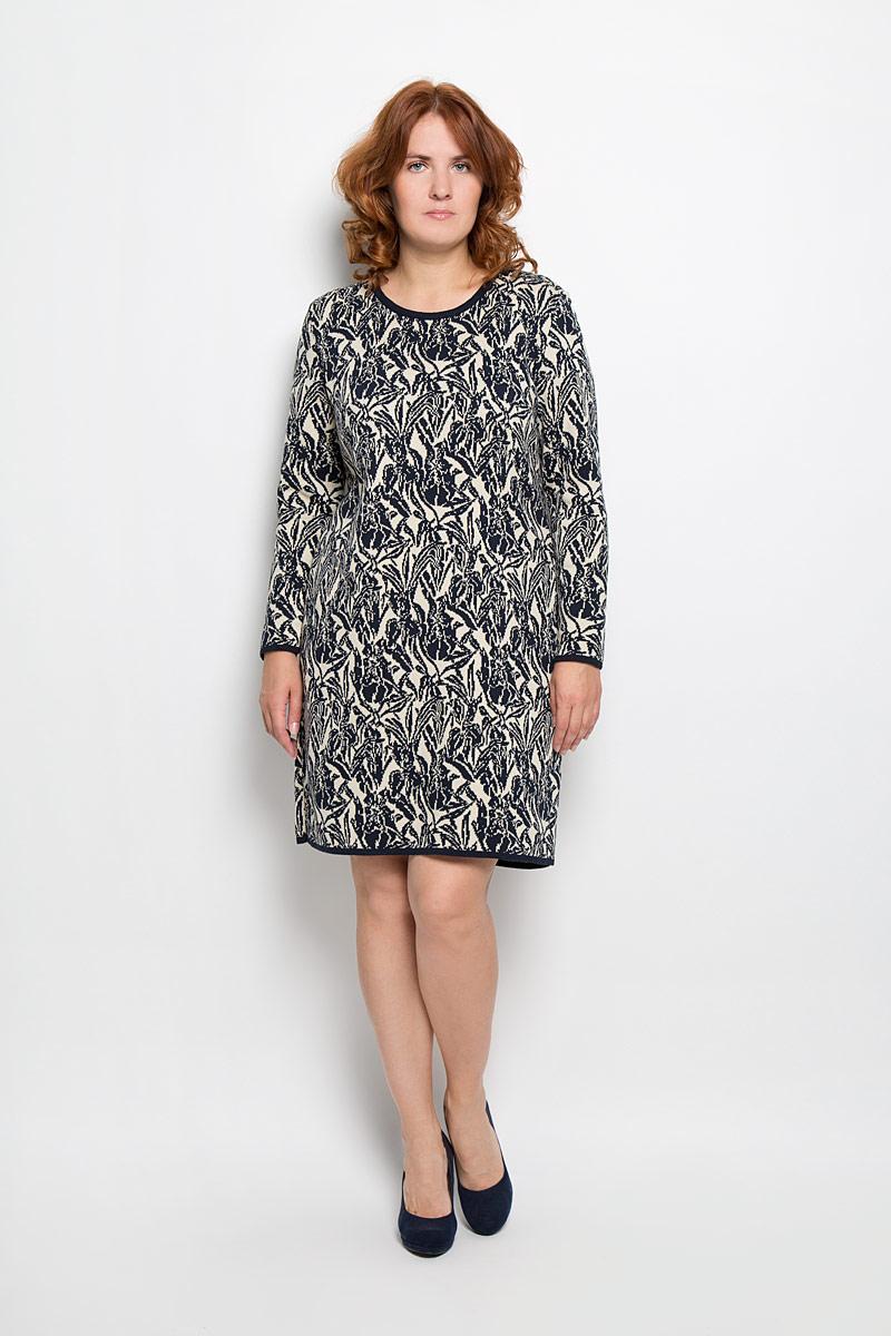 Платье. 937937Яркое вязаное платье Milana Style поможет создать оригинальный женственный образ. Благодаря составу, в который входят шерсть и акрил, платье очень приятное на ощупь, не сковывает движений, обеспечивая комфорт. Модель с круглым вырезом горловины и длинными рукавами украшена оригинальным цветочным орнаментом. Вырез горловины, низ рукавов и низ изделия связаны резинкой. Такое платье станет модным и стильным дополнением к вашему гардеробу!