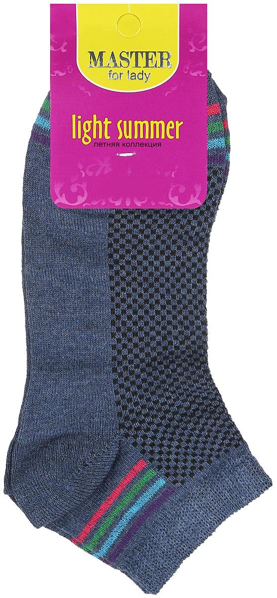 Носки женские. 5505455054Удобные носки Master Socks, изготовленные из высококачественного комбинированного материала, очень мягкие и приятные на ощупь, позволяют коже дышать. Эластичная резинка плотно облегает ногу, не сдавливая ее, обеспечивая комфорт и удобство. Носки с укороченным паголенком оформлены яркими полосками в нижней и верхней частях носка. Удобные и комфортные носки великолепно подойдут к любой вашей обуви.