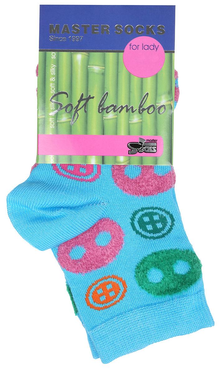 Носки женские Soft Bamboo. 8561185611Удобные укороченные носки Master Socks, изготовленные из высококачественного комбинированного материала, очень мягкие и приятные на ощупь, позволяют коже дышать. Эластичная резинка плотно облегает ногу, не сдавливая ее, обеспечивая комфорт и удобство. Носки оформлены орнаментом с изображением пуговиц. Практичные и комфортные носки великолепно подойдут к любой вашей обуви.